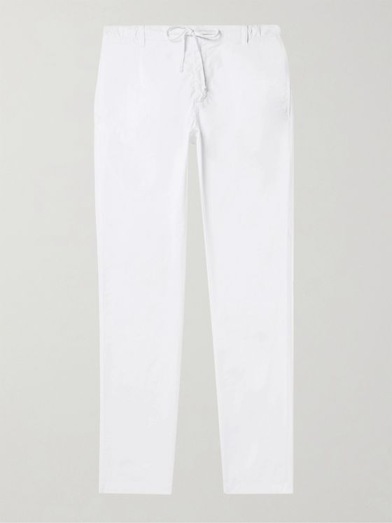 HARTFORD Slim-Fit Tapered Pleated Cotton Drawstring Trousers