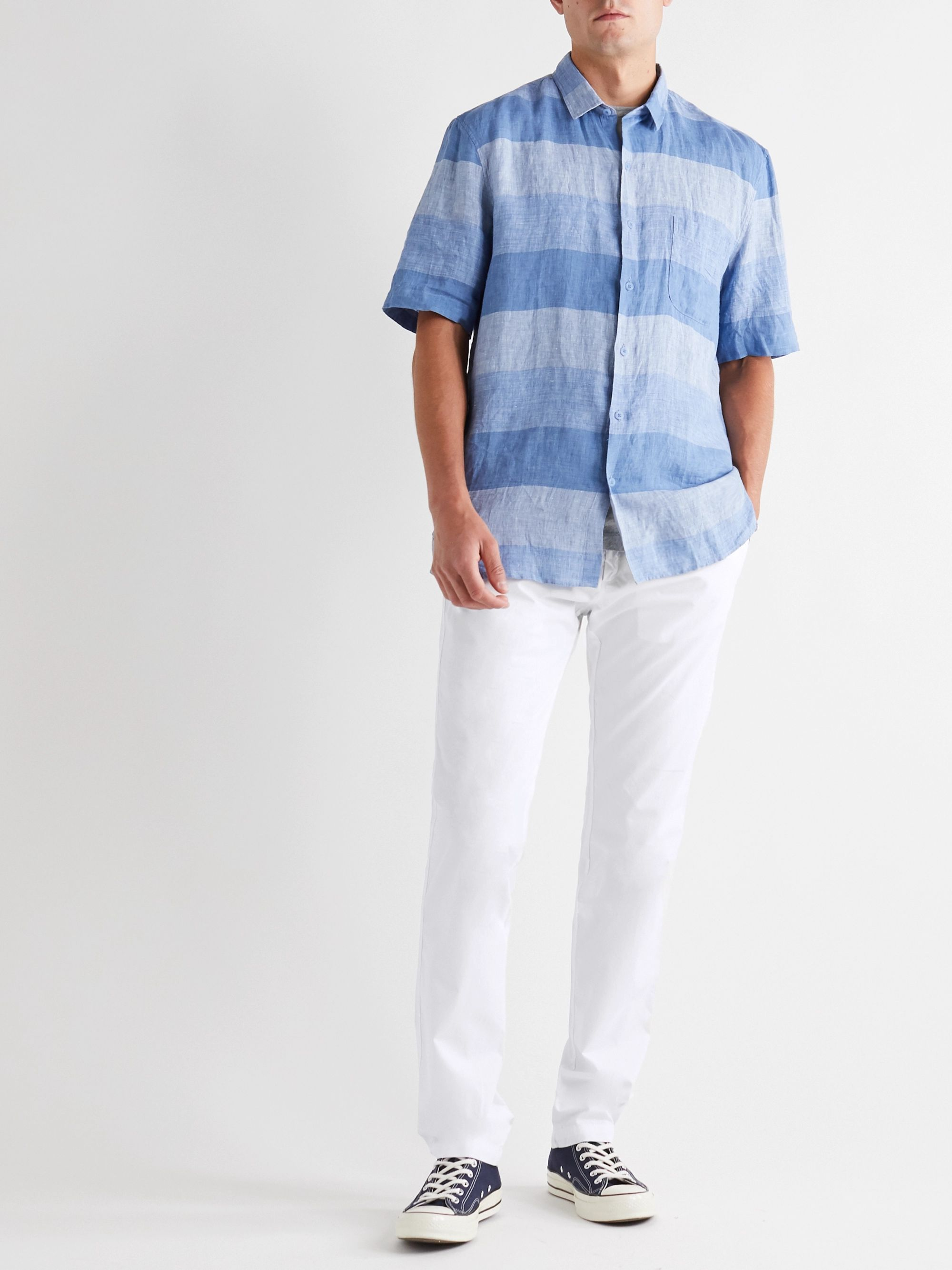 White Slim-fit Tapered Pleated Cotton Drawstring Trousers | Hartford