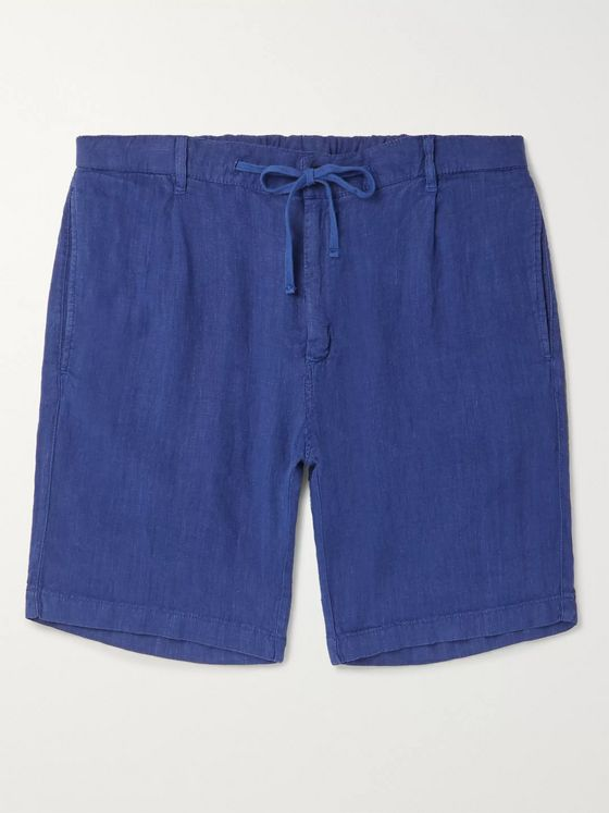 HARTFORD Pleated Linen Drawstring Shorts