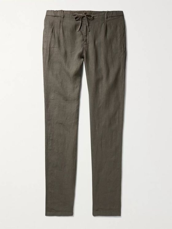 Hartford Tanker Slim-Fit Tapered Pleated Linen Drawstring Trousers