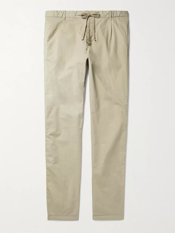 HARTFORD Tanker Slim-Fit Tapered Pleated Cotton Drawstring Trousers