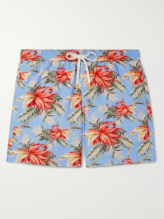 HARTFORD Slim-Fit Mid-Length Printed Swim Shorts