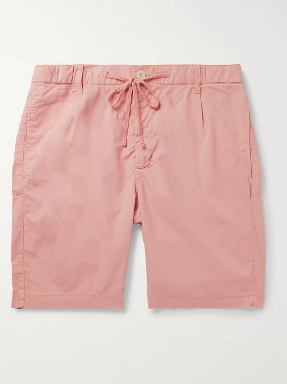 Hartford Pleated Cotton Drawstring Shorts