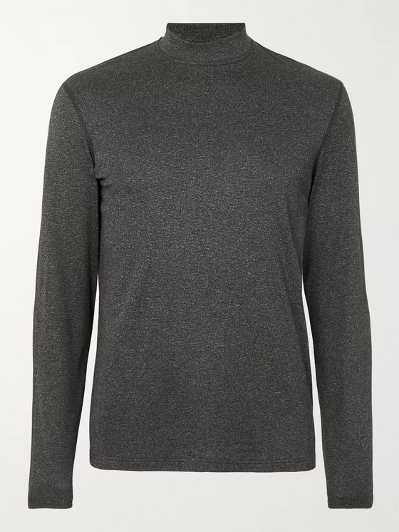 REIGNING CHAMP Slim-Fit Mélange Polartec Power Wool Mock-Neck T-Shirt