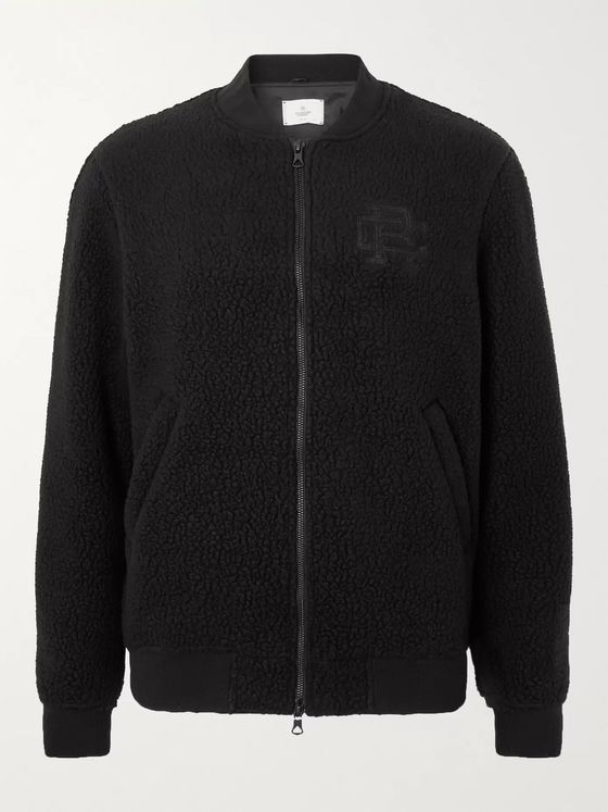 REIGNING CHAMP Stadium Logo-Embroidered Polartec Fleece Bomber Jacket