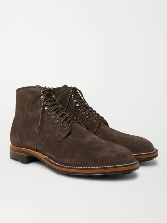 Viberg Zabri Leather-Trimmed Suede Derby Boots