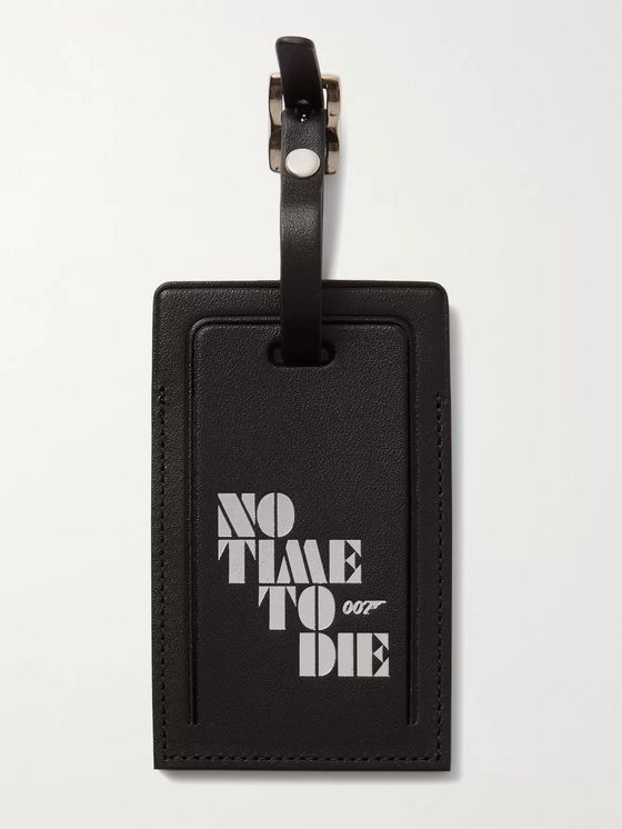 Globe-Trotter + No Time to Die Printed Leather Luggage Tag