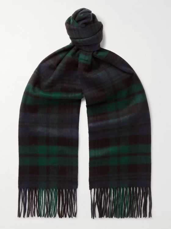 Kingsman + Johnstons of Elgin Fringed Logo-Embroidered Tartan Cashmere Scarf