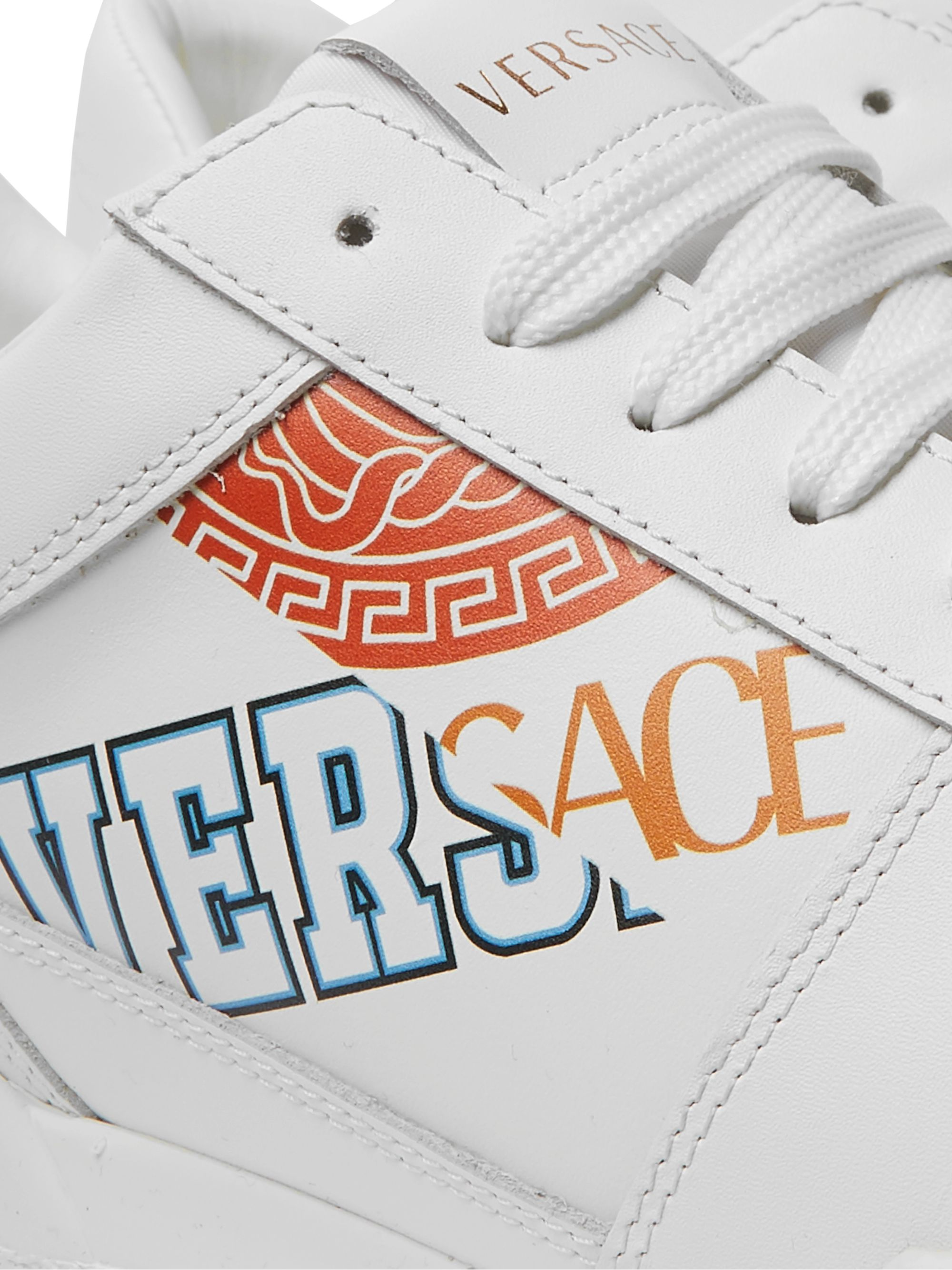 Versace Heritage Logo-Print Leather Sneakers