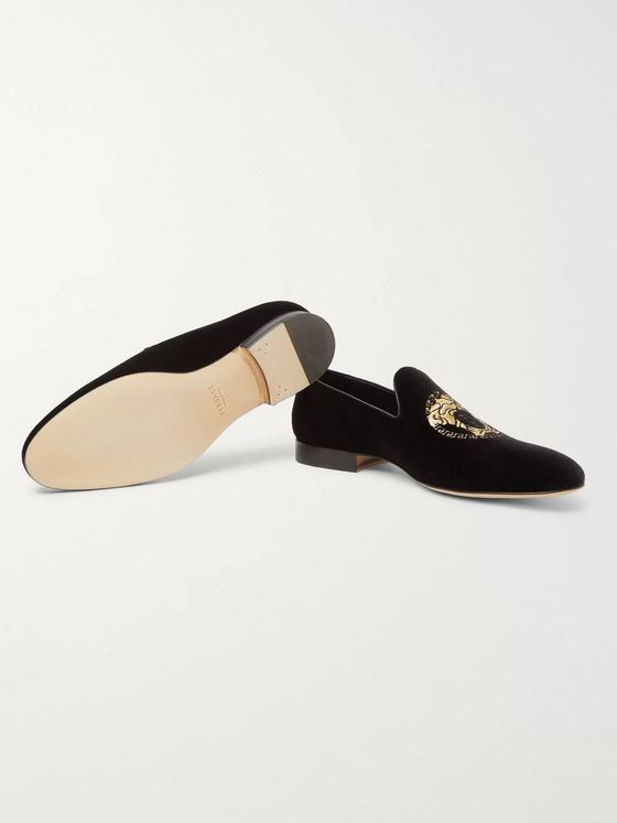 Versace Logo-Embroidered Velvet Loafers