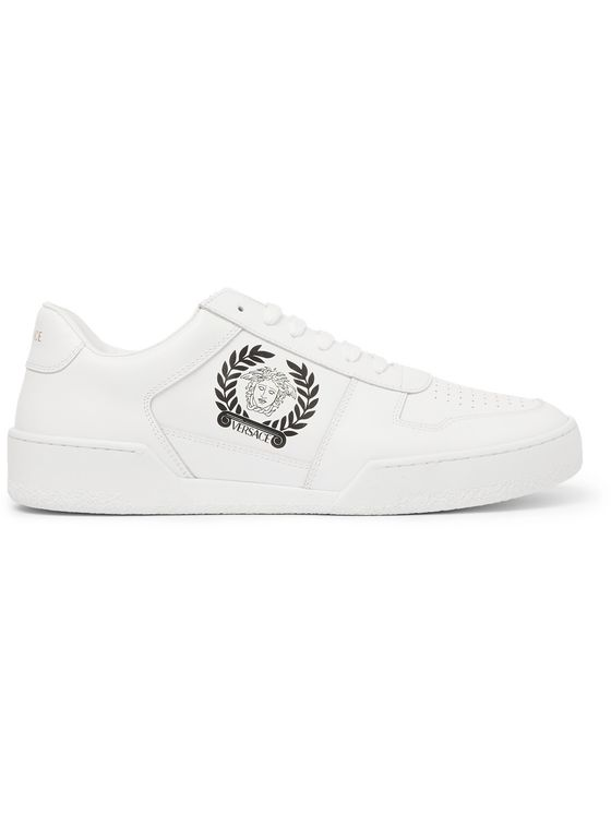 Versace Logo-Print Leather Sneakers