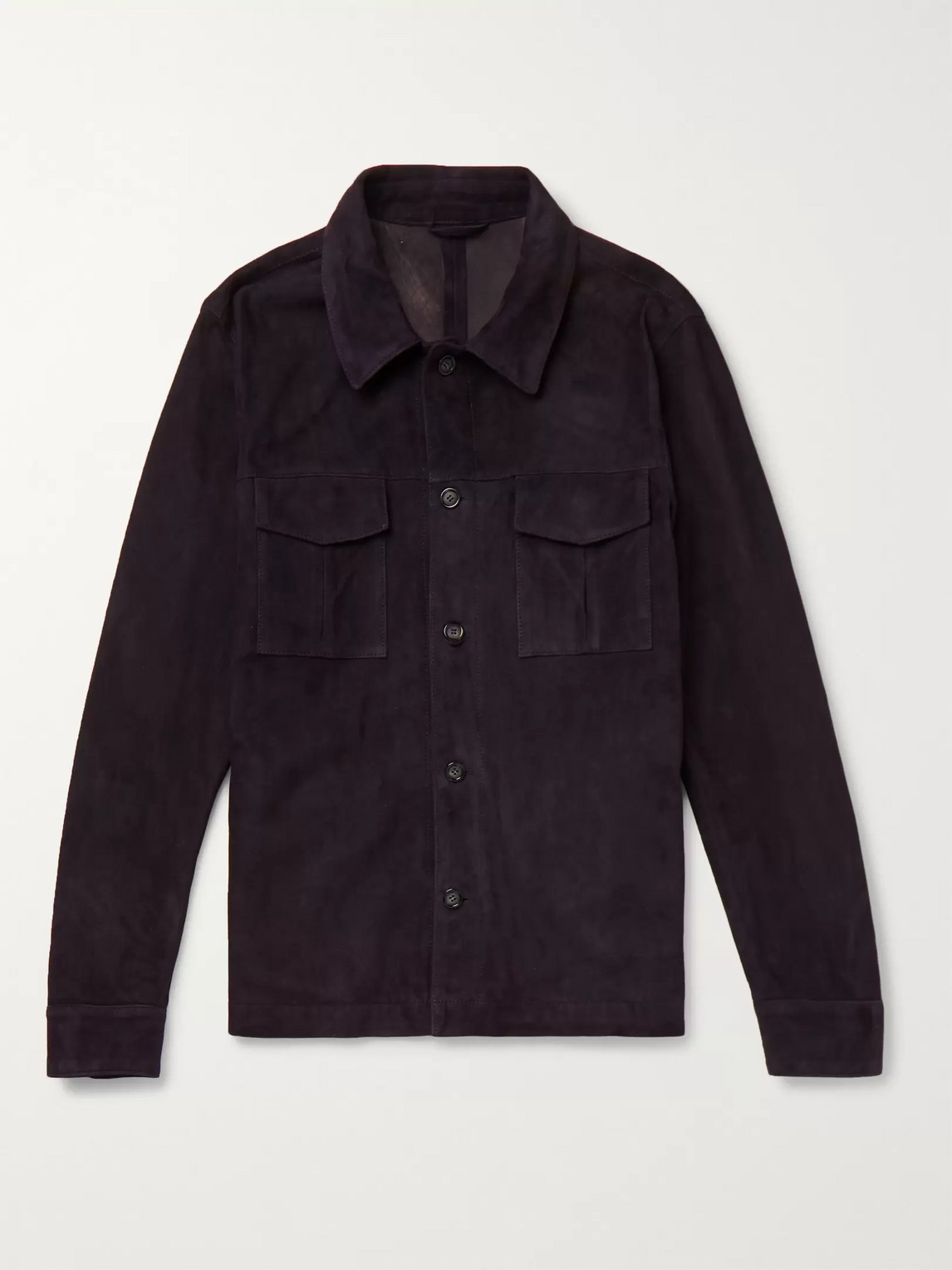 Valstar Slim-fit Suede Shirt Jacket In Blue