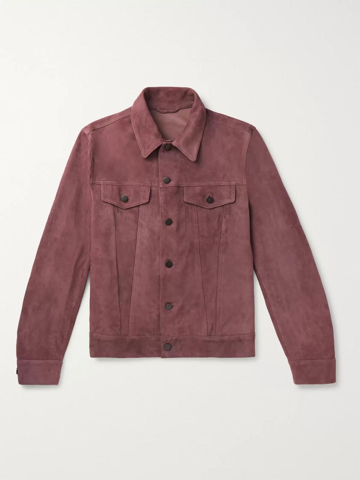 Valstar Slim-fit Suede Trucker Jacket In Pink
