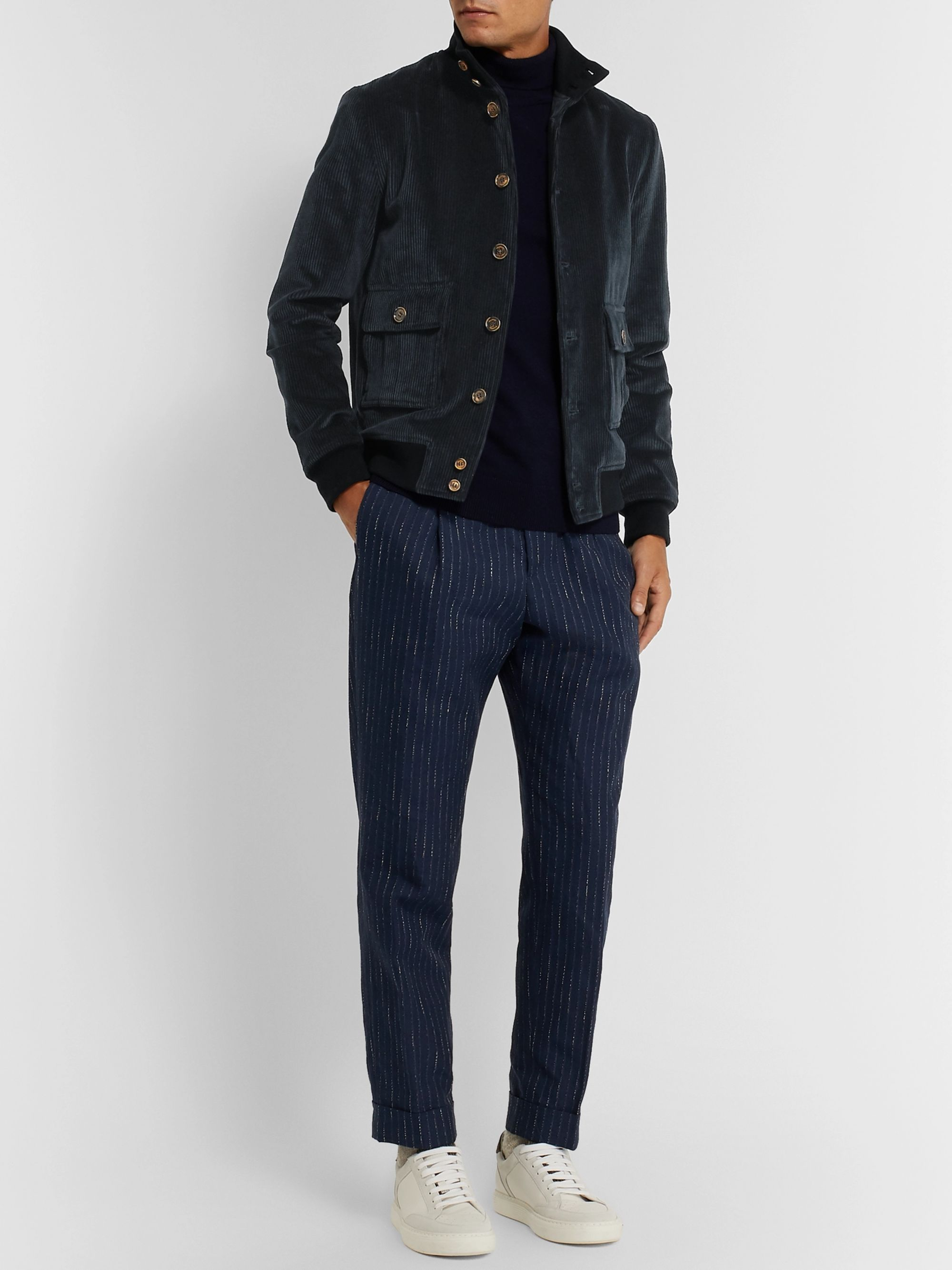 Valstar Valstarino Slim-Fit Cotton-Blend Corduroy Bomber Jacket