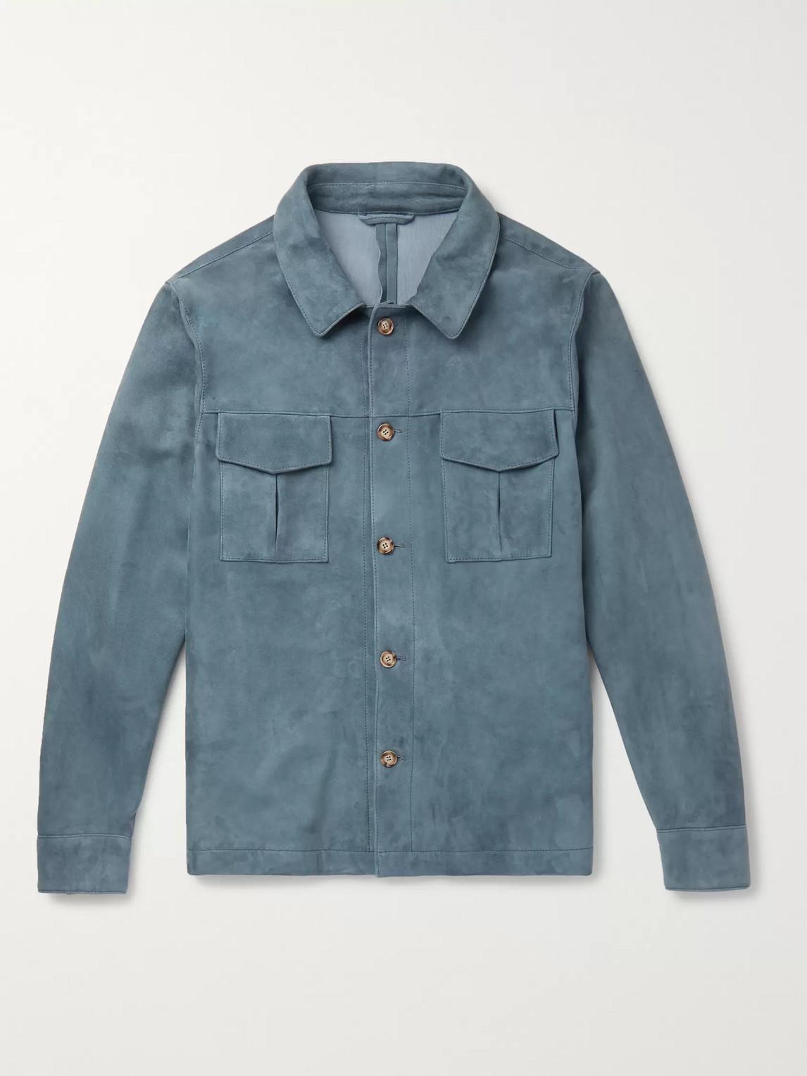 Valstar Slim-fit Suede Shirt Jacket In Blue