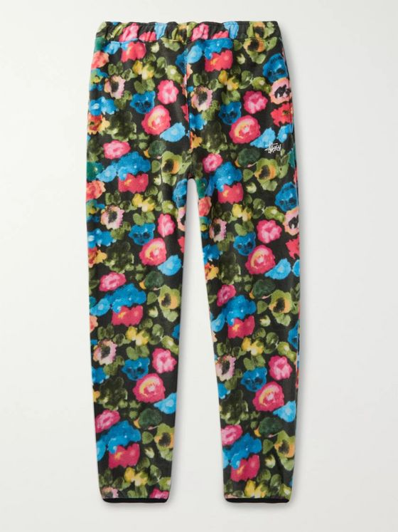 Stüssy Logo-Embroidered Floral-Print Fleece Sweatpants