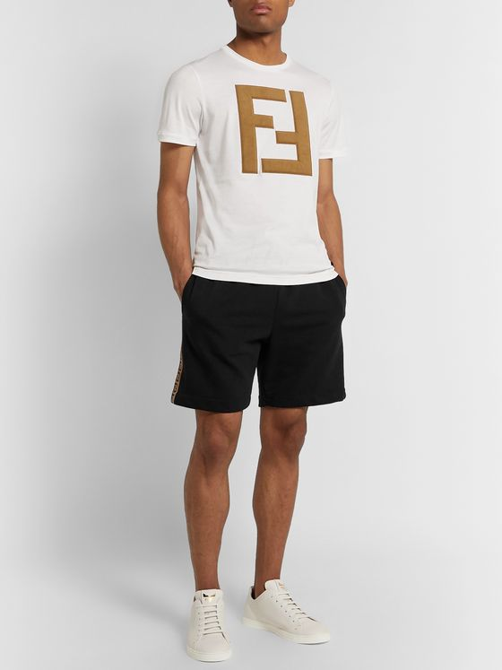 Fendi Logo Webbing-Trimmed Loopback Cotton-Jersey Drawstring Shorts