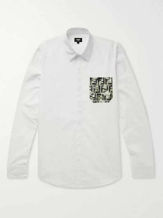 Fendi Slim-Fit Logo-Print Cotton-Poplin Shirt