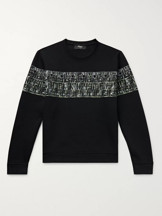 Fendi Logo-Print Cotton-Blend Jersey Sweatshirt