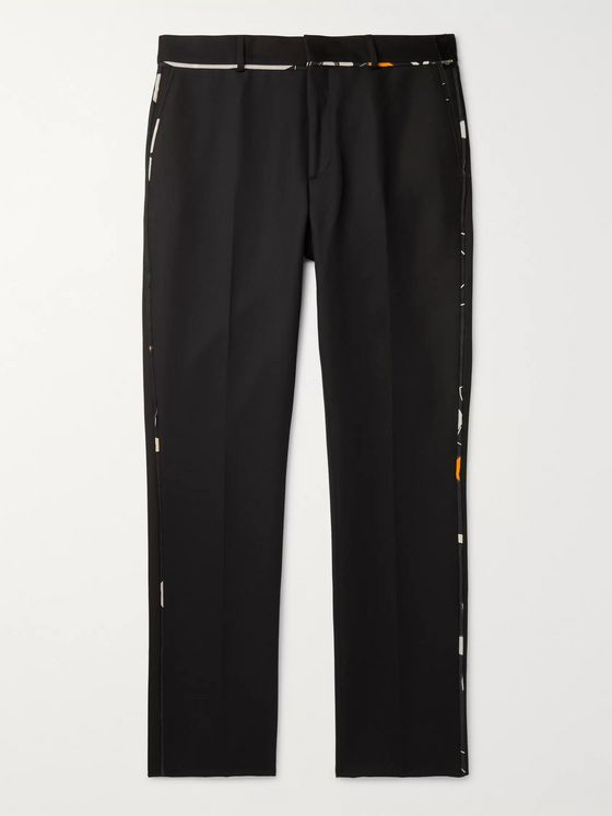 Fendi Slim-Fit Tapered Piped Virgin Wool-Blend Trousers