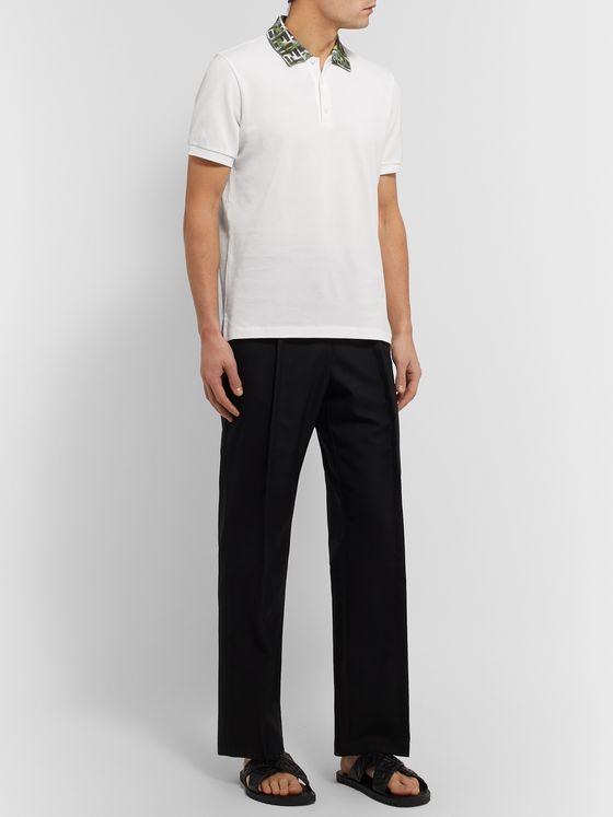 Fendi Logo-Trimmed Cotton-Piqué Polo Shirt