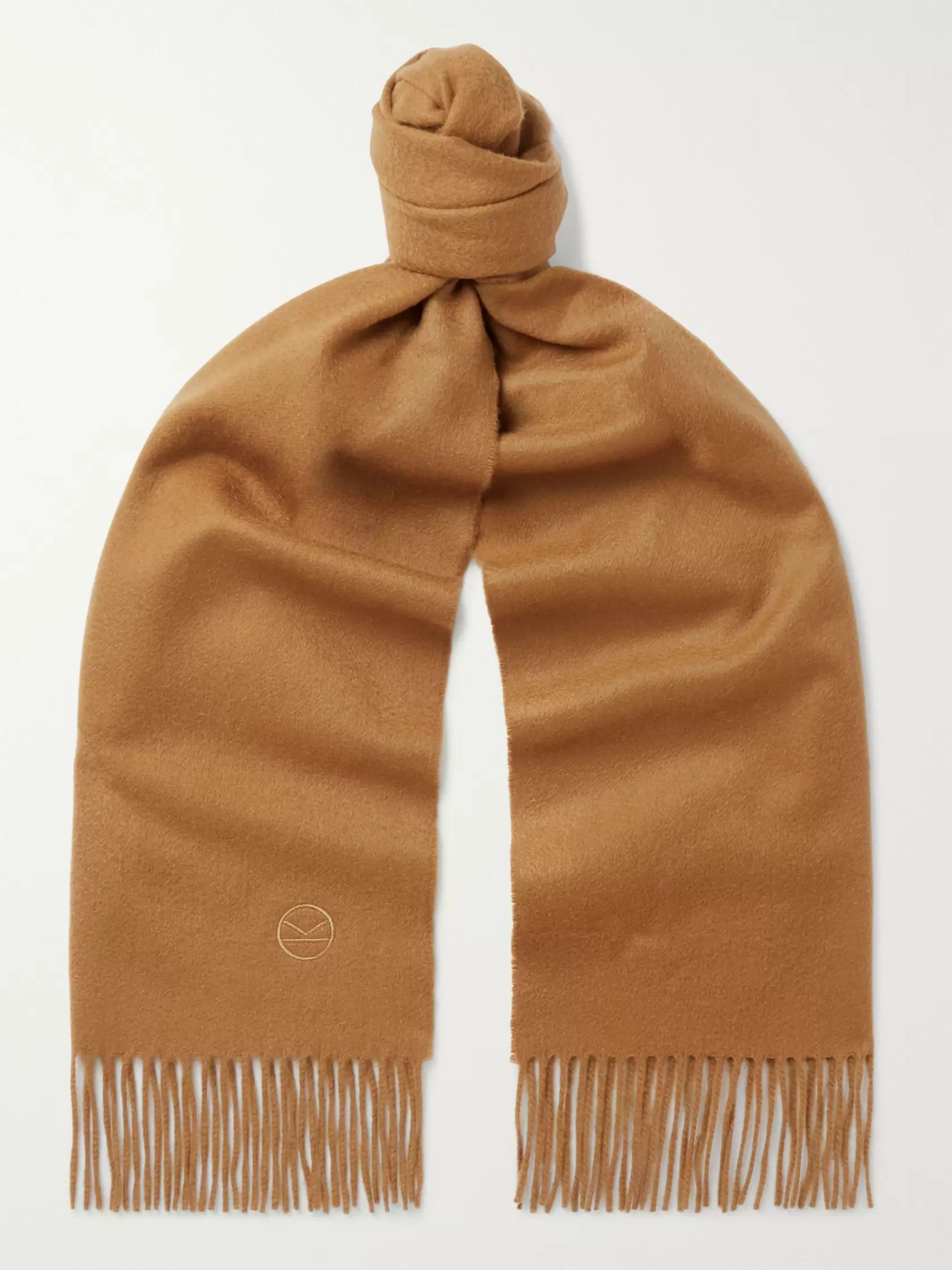 Kingsman + Johnstons of Elgin Fringed Logo-Embroidered Cashmere Scarf