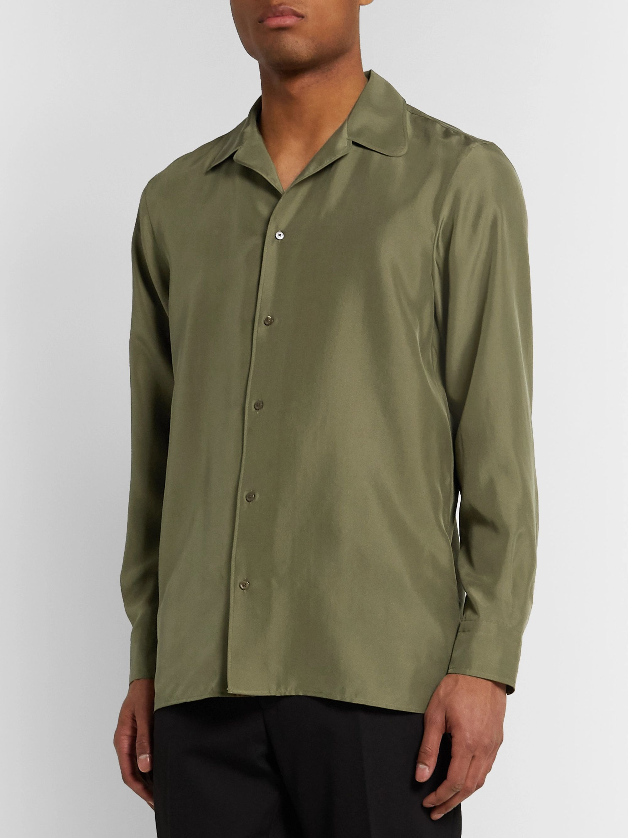 Fendi Camp-Collar Silk Shirt