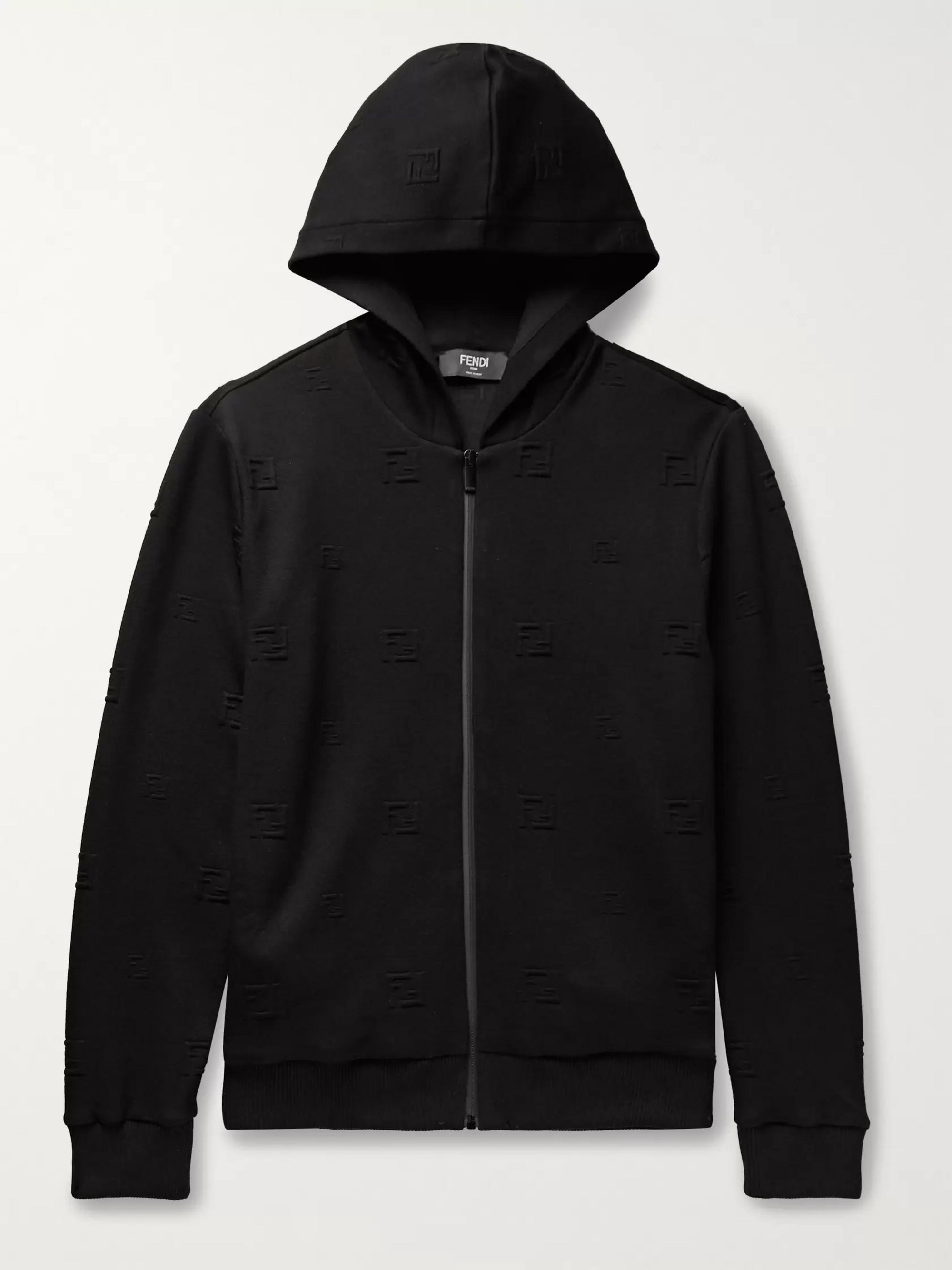 Fendi Logo-Jacquard Stretch-Jersey Hooded Track Jacket