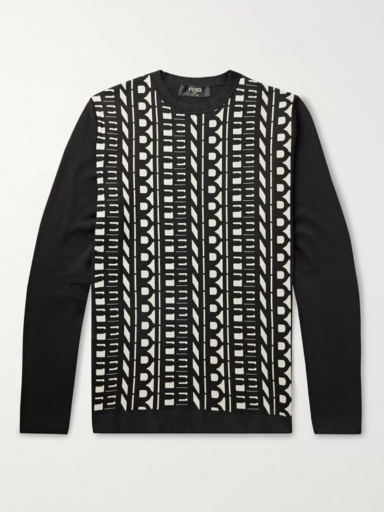 Fendi Slim-Fit Logo-Jacquard Cotton Sweater