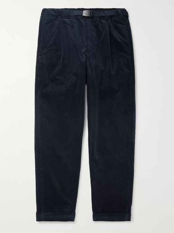 Gramicci Black Belted Tapered Cotton-Corduroy Trousers