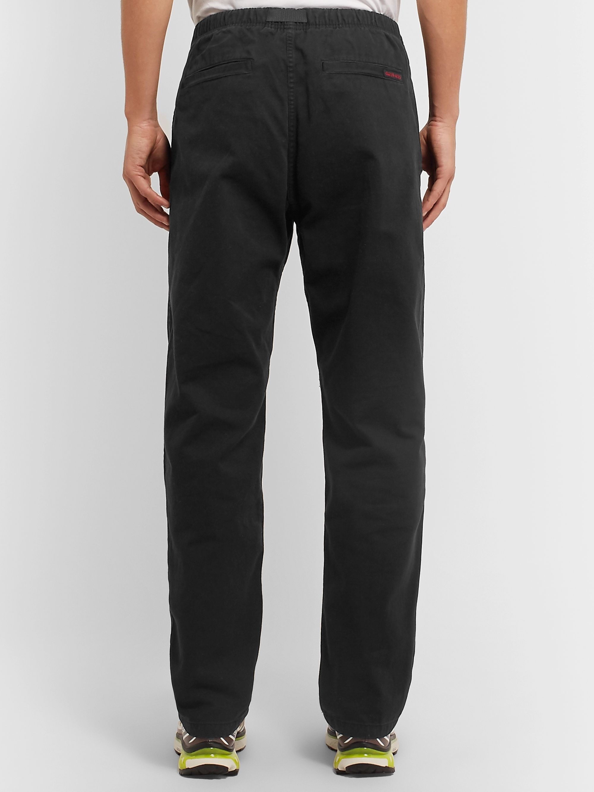 Gramicci Black Original G Belted Garment-Dyed Cotton-Twill Trousers