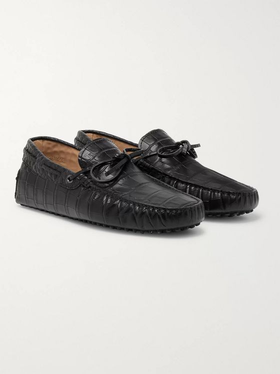 TOD'S Gommino Croc-Effect Leather Driving Shoes