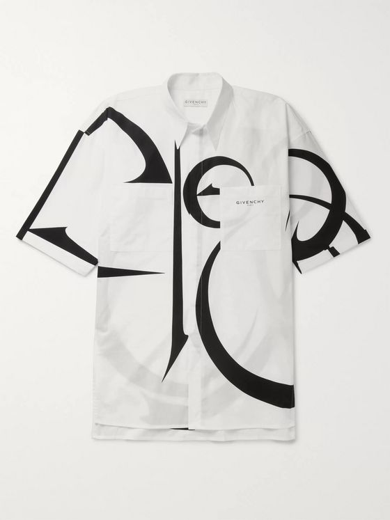 Givenchy Oversized Printed Cotton-Poplin Shirt