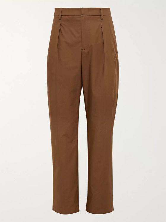 Valentino Brown Pleated Cotton Trousers
