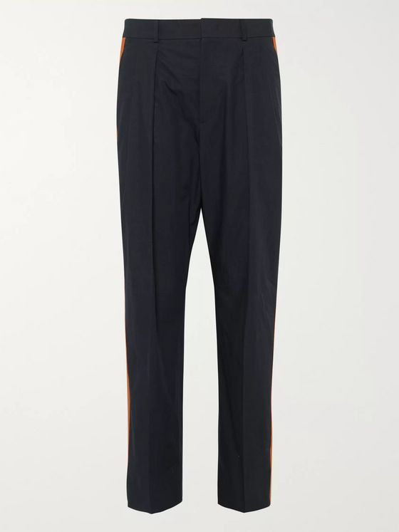 Valentino Striped Pleated Cotton-Poplin Trousers
