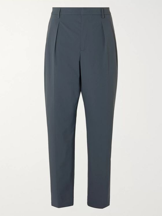 Valentino Tapered Pleated Tech Cotton-Blend Trousers