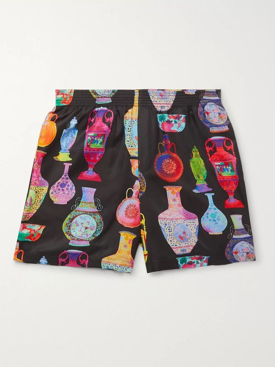 Versace Printed Satin Shorts