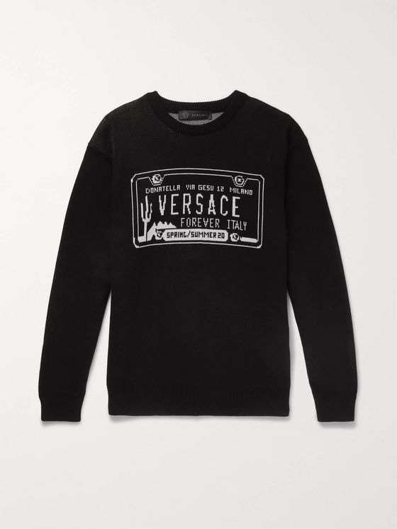 Versace Slim-Fit Logo-Intarsia Cotton Sweater