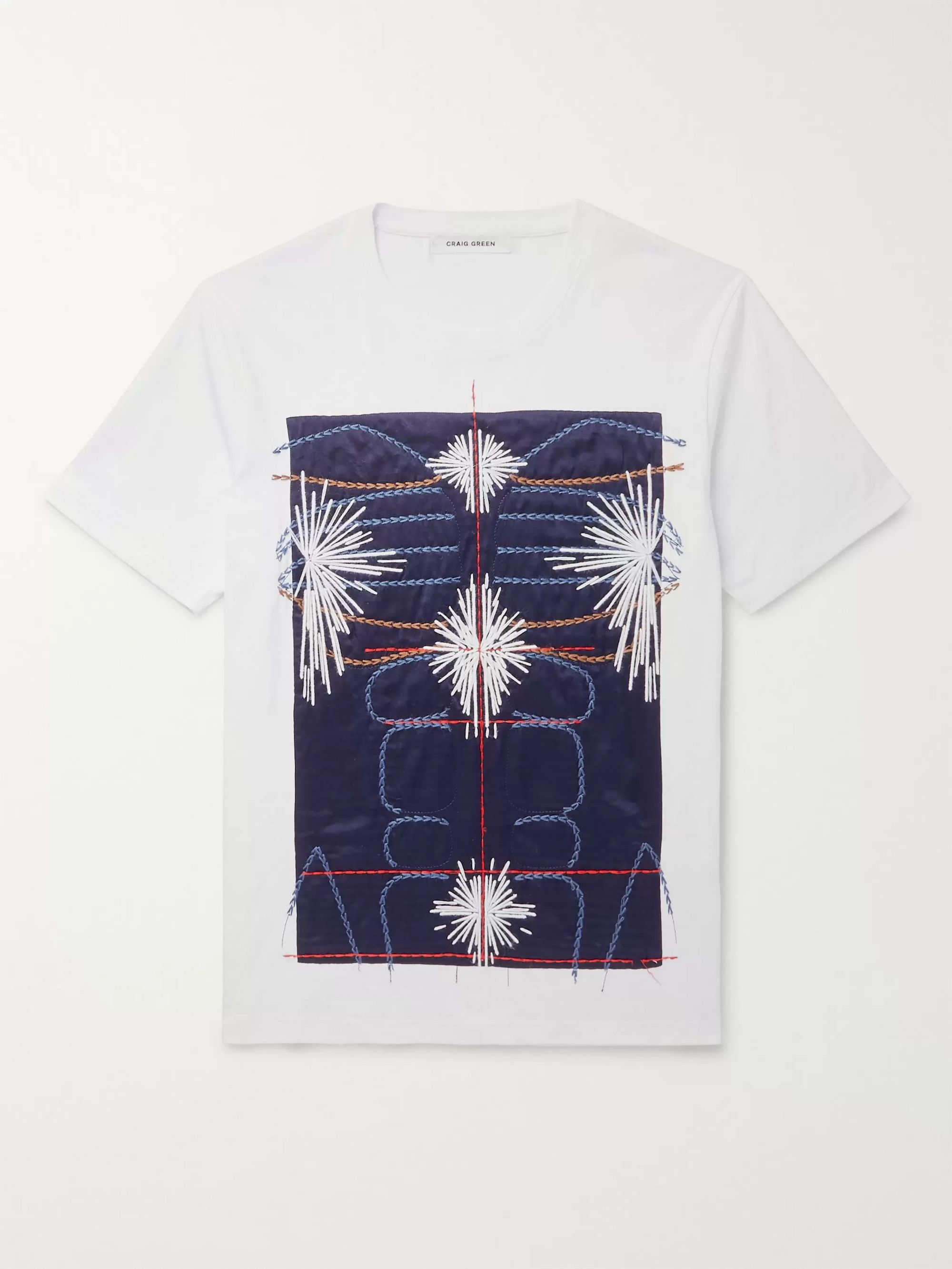 Craig Green Slim-Fit Embroidered Panelled Cotton-Jersey T-Shirt