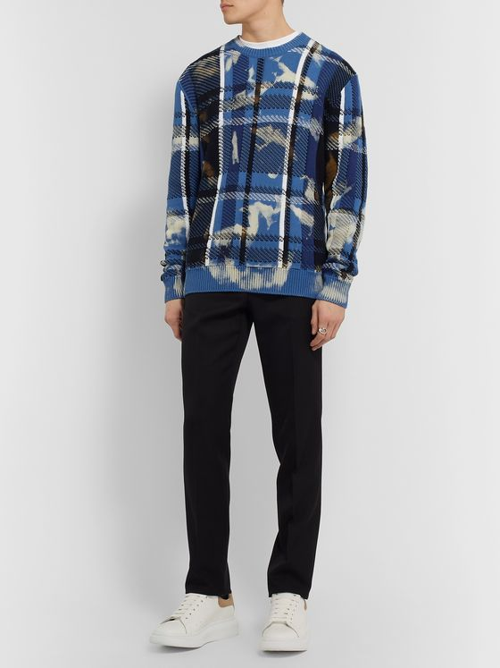Versace Distressed Checked Cotton Sweater