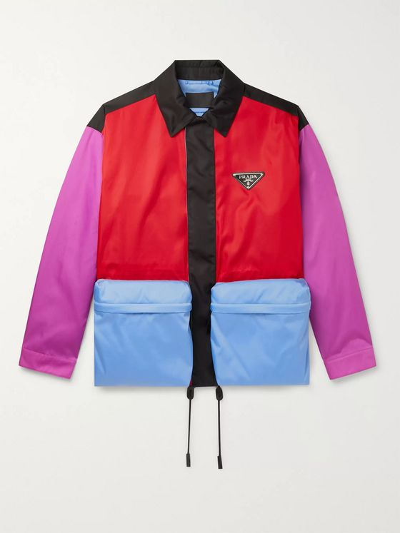 Prada Oversized Logo-Appliquéd Colour-Block Nylon Blouson Jacket