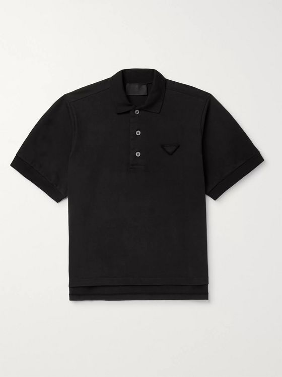 Prada * Logo-Appliquéd Cotton-Jersey Polo Shirt