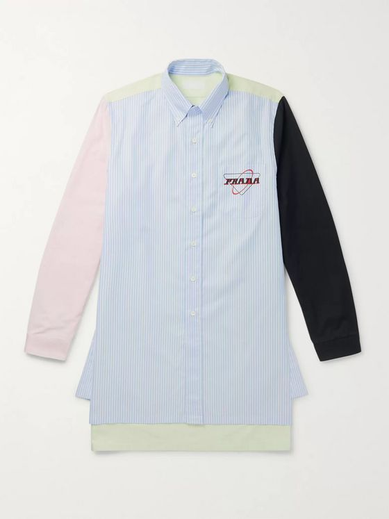 Prada Button-Down Collar Logo-Print Panelled Cotton Oxford Shirt