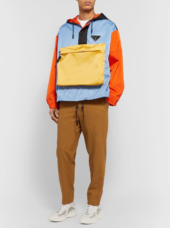 Prada Logo-Appliquéd Colour-Block Nylon-Gabardine Hooded Anorak
