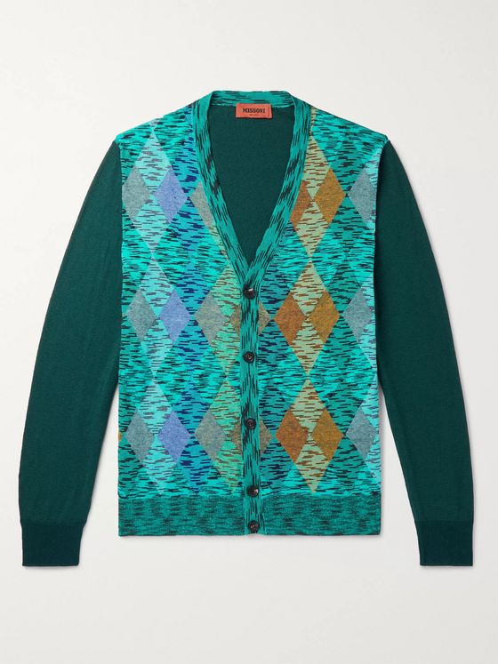 Missoni Slim-Fit Intarsia-Panelled Cotton-Blend Cardigan