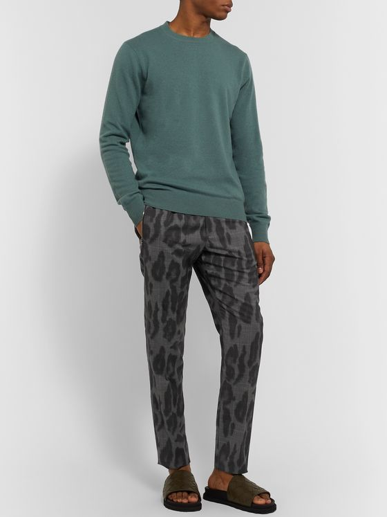 Stella McCartney Slim-Fit Leopard-Print Prince of Wales Checked Wool Trousers
