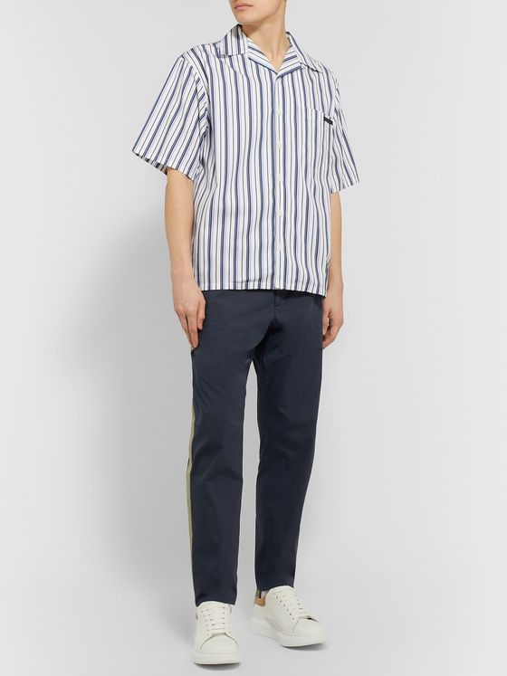 Stella McCartney Tapered Striped Cotton Drawstring Trousers