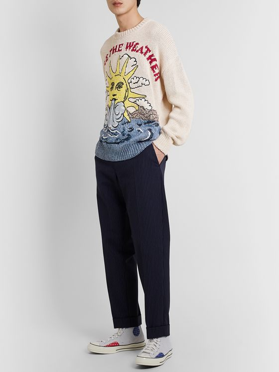 Stella McCartney Embroidered Intarsia Cotton and Linen-Blend Sweater
