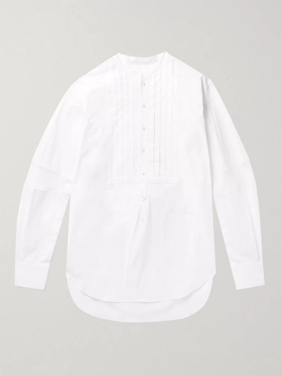 TAKAHIROMIYASHITA TheSoloist. Pleated Bib-Front Jacquard and Cotton-Blend Poplin Shirt