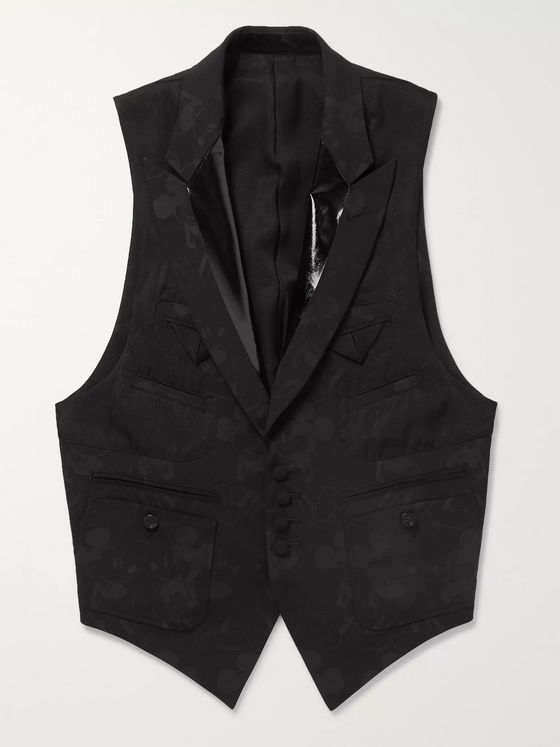 TAKAHIROMIYASHITA TheSoloist. + Mickey Mouse Patent Leather-Trimmed Wool-Blend Jacquard Waistcoat